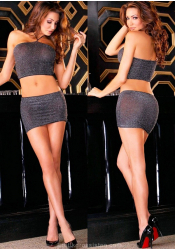 Sparkle Mesh Tube Top & Miniskirt Set - Electric Lingerie